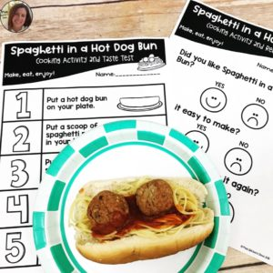 spaghetti in a Hot Dog Bun cooking activity