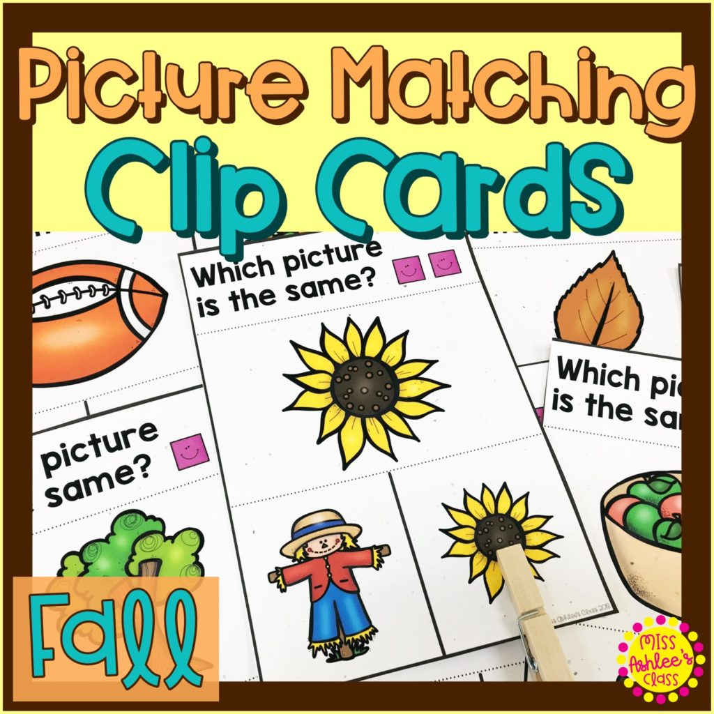 picture matching task cards fall theme