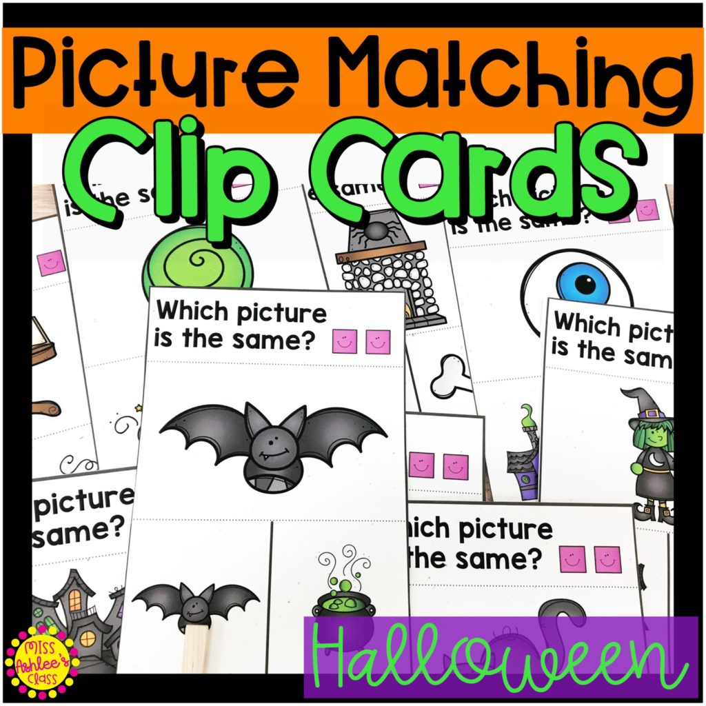 picture matching task cards Halloween theme