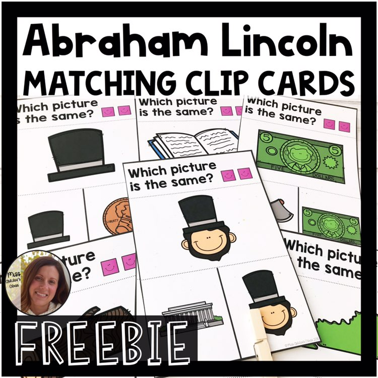abraham lincoln picture matching task cards