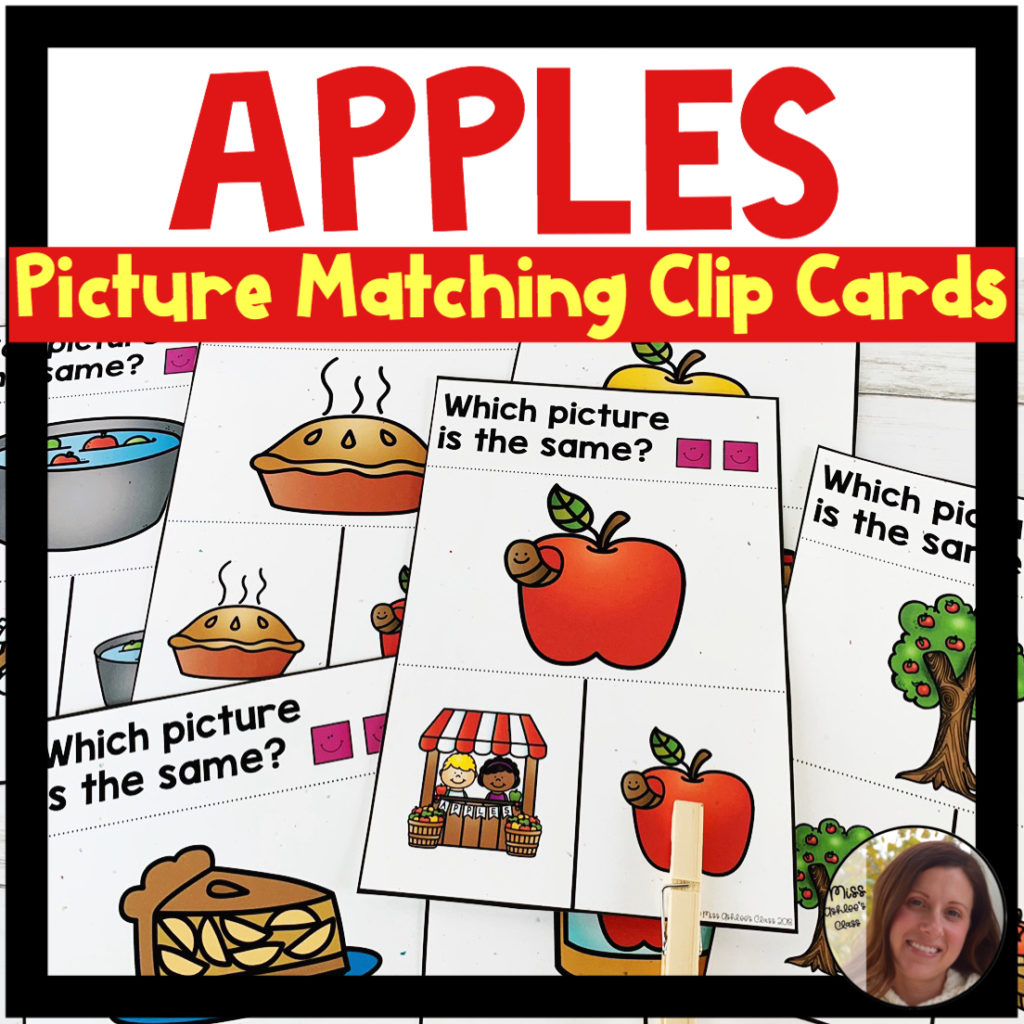 picture matching task cards apple theme