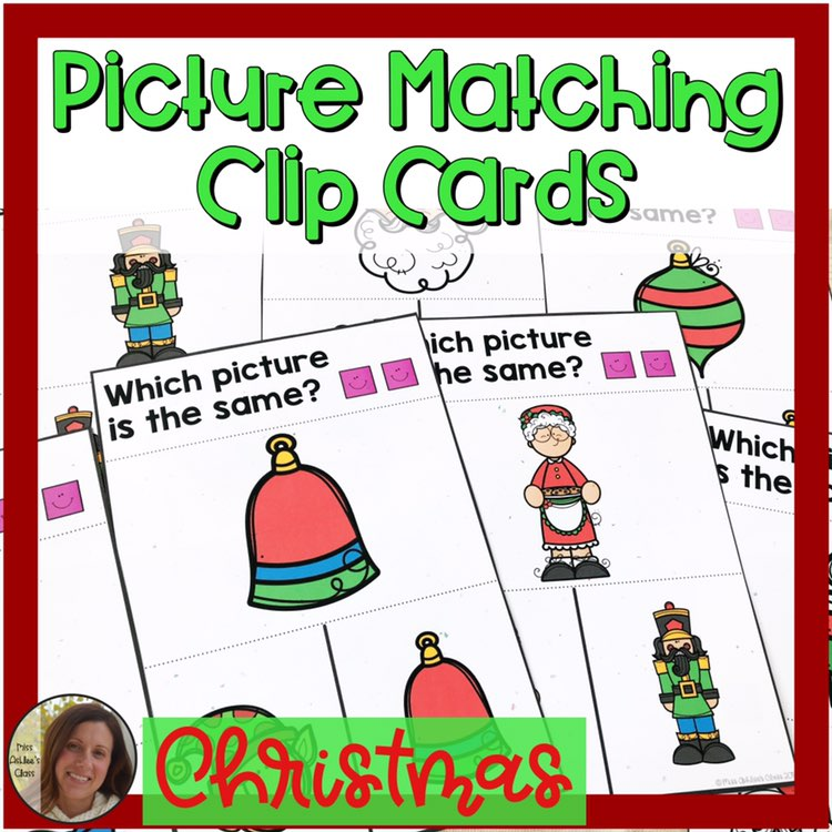 picture matching task cards Christmas theme