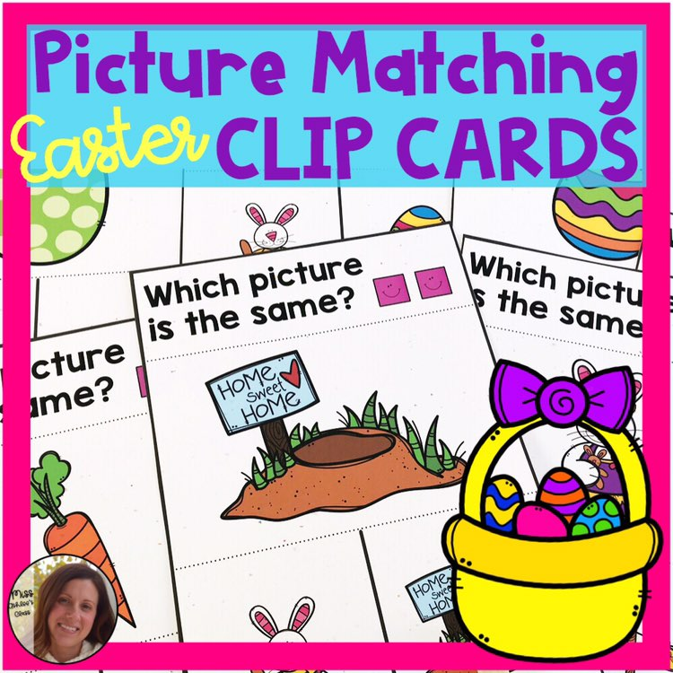 picture matching task cards Easter theme