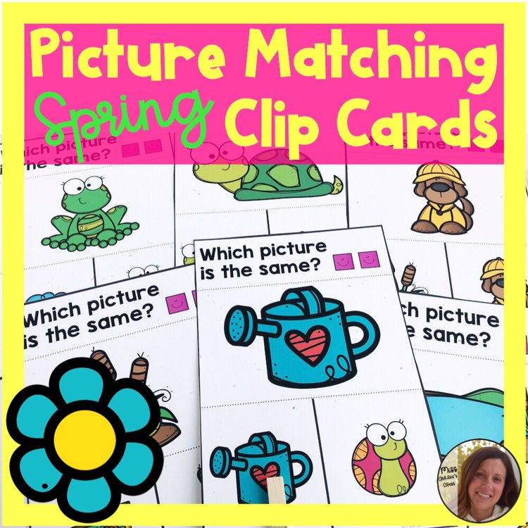 picture matching task cards Spring theme