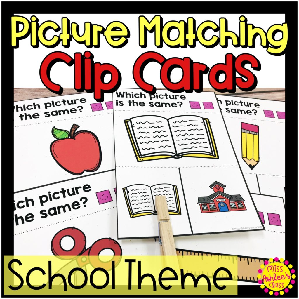 picture matching task cards school themed