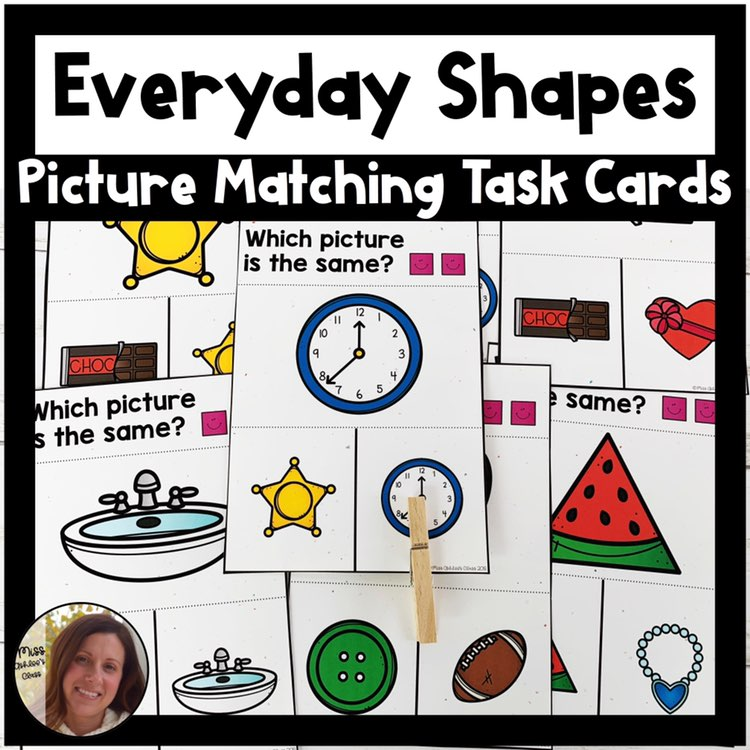 picture matching task cards everyday shape theme