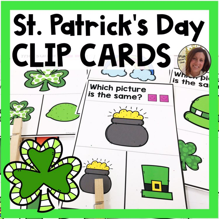 picture matching task cards St. Patricks Day theme