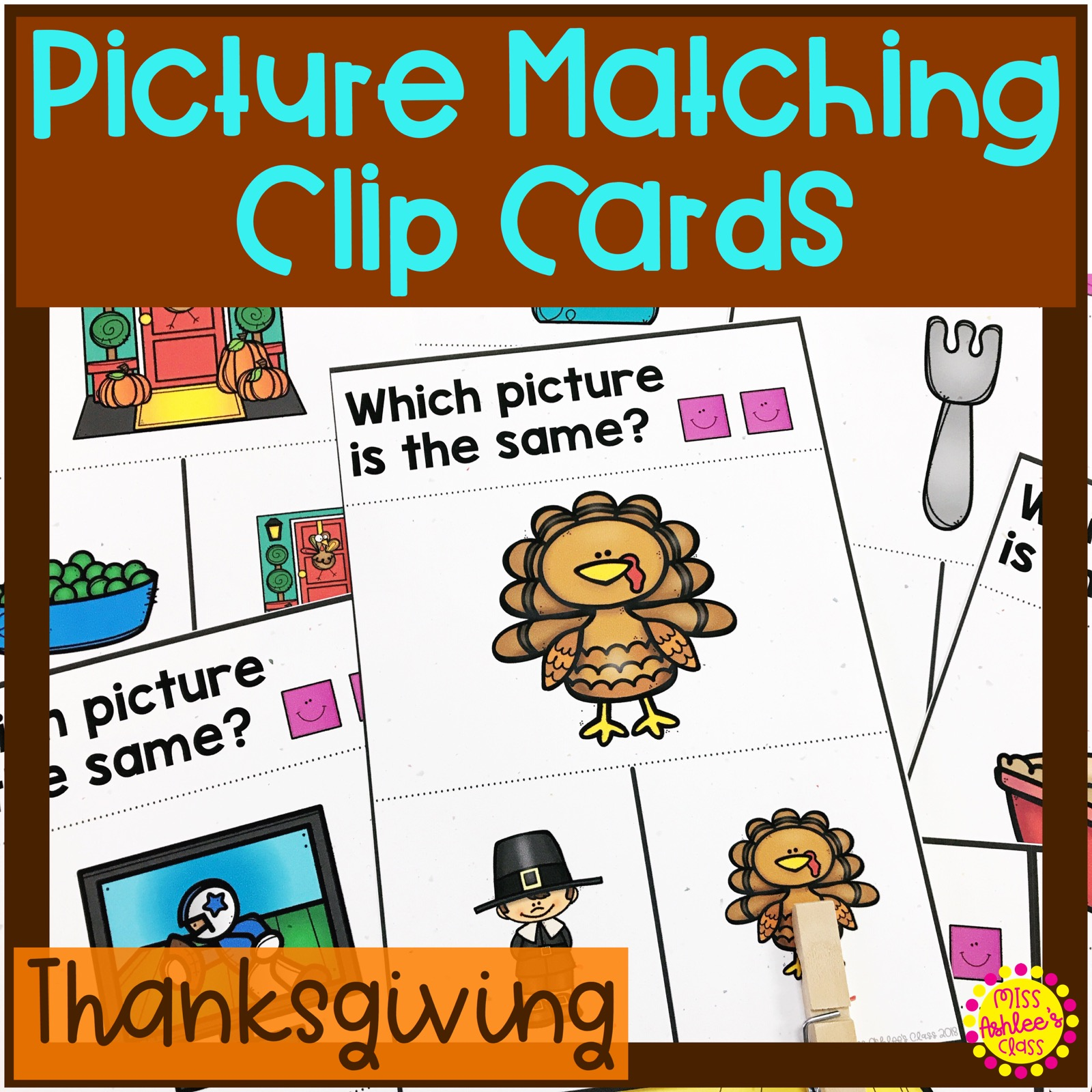 picture matching task cards Thanksgiving theme