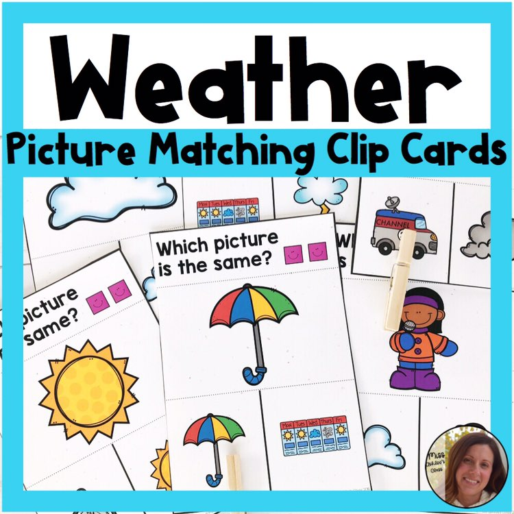 picture matching task cards Weather