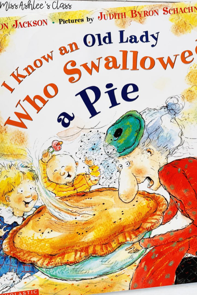 I know an old lady who swallowed a pie book